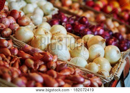 Fresh Organic Onion On Farmers Market