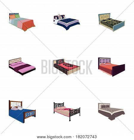 The set of images on the theme of sleep and rest. Different beds for every taste and color.Bed icon in set collection on cartoon style vector symbol stock web illustration.