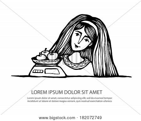 Girl with weights for food with apples. A woman on a diet, a healthy diet, a dessert. Hand drawn Vector illustration. Ethnic clothes, long hair, natural food