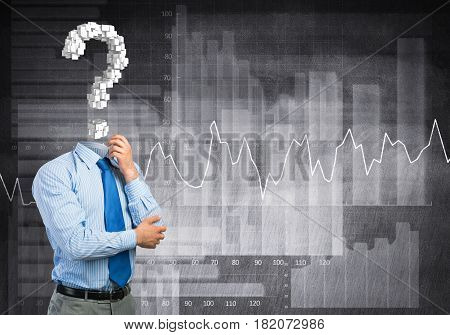Faceless pensive businessman with question mark instead of head