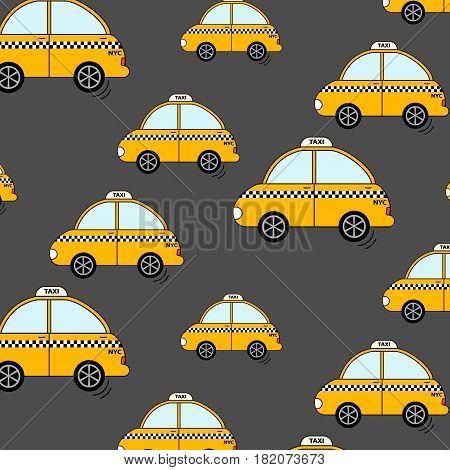 Cartoon NYC taxi pattern. Cute yellow cab cars wallpaper. Auto decoration print Driver service urban print