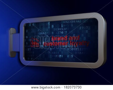 Advertising concept: Brand and Customer loyalty and Decline Graph on advertising billboard background, 3D rendering