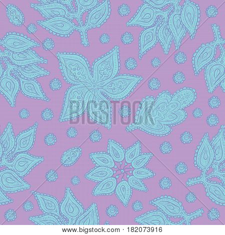 Vegetable seamless vector pattern. Decorative ornate stylized leaves, flowers and abstract elements