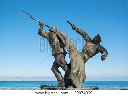 monument to soldiers of Kerch-Feodosiya landing was installed on embankment of city of Feodosia on May 7, 1994. Crimea, Theodosia. April 4th, 2017