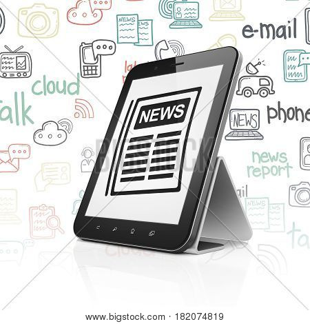 News concept: Tablet Computer with  black Newspaper icon on display,  Hand Drawn News Icons background, 3D rendering