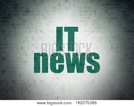 News concept: Painted green word IT News on Digital Data Paper background