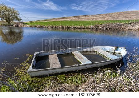 An old row boat partly filled with water in a pond in eastern Washington.