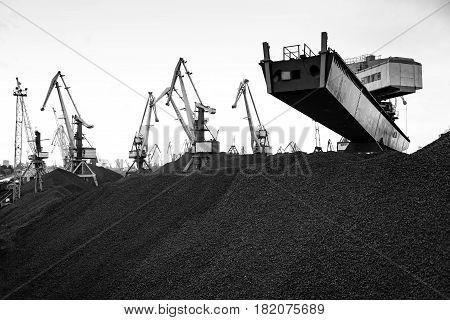 Maritime transportation industry. Work in port coal transshipment terminal.