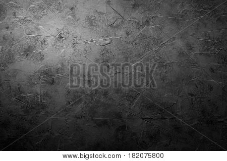Black empty concrete stone texture. Black rock slate background. Hotisontal.