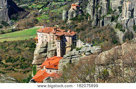 Impressive Roussanou monastery . Meteora, central Greece