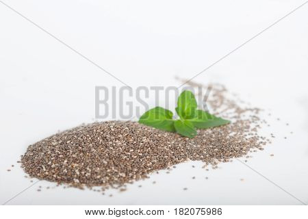 Heap of organic chia seeds rich in omega-3 fatty acids