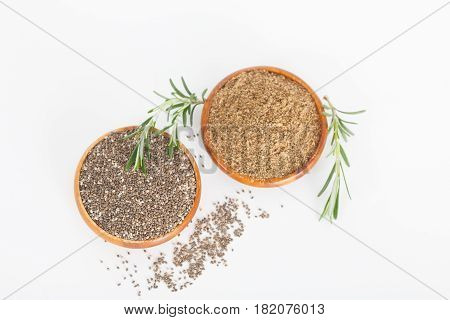 Chia seeds in wooden bowls. Chia seeds protect heart, healthy food