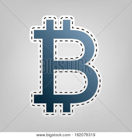 Bitcoin sign. Vector. Blue icon with outline for cutting out at gray background.