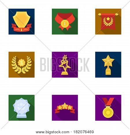 Awards, gold medals and cups as prizes in competitions and competitions. Awards and trophies icon in set collection on flat style vector symbol stock web illustration.