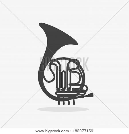 Logo with French Horn Silhouette of Brass Orchestra Woodwind Instrument on white background Isolated.
