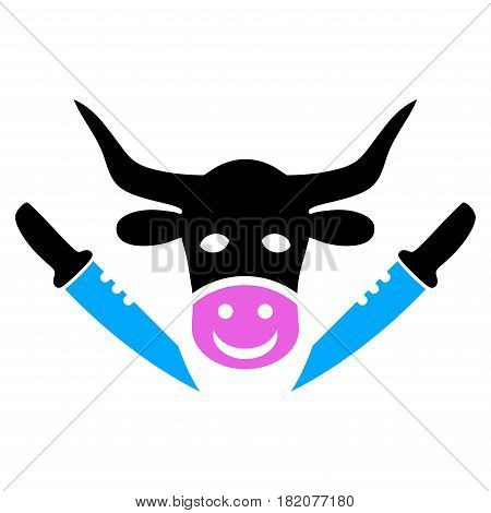Cow Butchery vector pictogram. a flat isolated illustration on a white background.