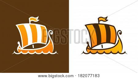 Drakkar - Viking Ships Vector Logo of Medieval Longship in Orange Color.
