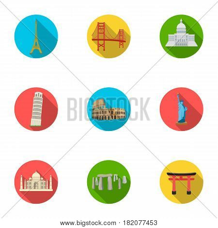 Sights of the countries of the world. Famous buildings and monuments of different countries and cities. Countries icon in set collection on flat style vector symbol stock web illustration.