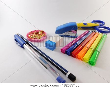 School supplies such as scissors rubber fibers and pens.