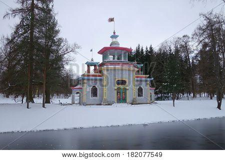 A day in April and Creaky pavilion in the Catherine Park in Tsarskoye Selo