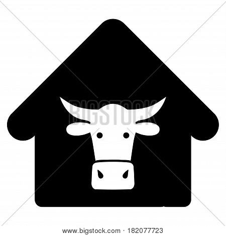 Cow Farm vector pictograph. a flat isolated illustration on a white background.