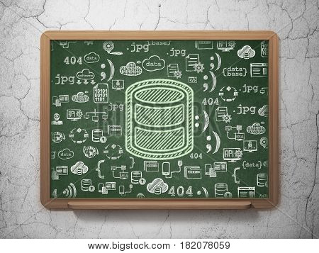 Database concept: Chalk Green Database icon on School board background with  Hand Drawn Programming Icons, 3D Rendering