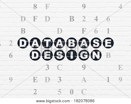 Database concept: Painted black text Database Design on White Brick wall background with Hexadecimal Code