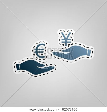 Currency exchange from hand to hand. Euro and Yen. Vector. Blue icon with outline for cutting out at gray background.