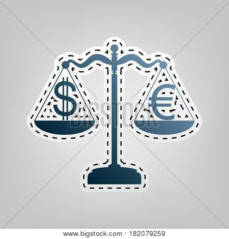 Justice scales with currency exchange sign. Vector. Blue icon with outline for cutting out at gray background.