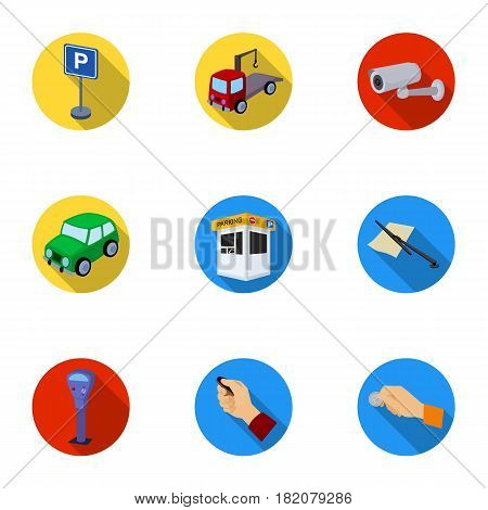 A set of icons for parking cars and bicycles. Fines and elements of parking.Parking zone icon in set collection on flat style vector symbol stock web illustration.