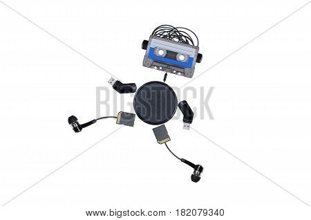 the robot consists of audiotapes and multiple gadgets isolated on white background, runs forward
