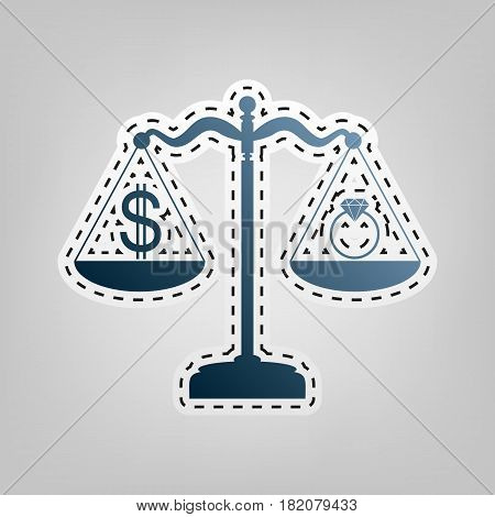 Ring jewelery and dollar symbol on scales. Vector. Blue icon with outline for cutting out at gray background.
