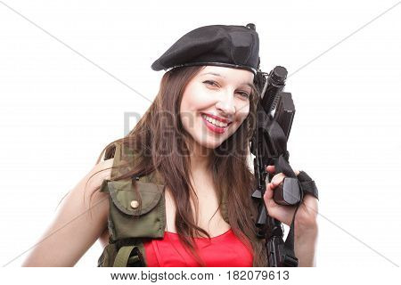 Sexy women - Girl holding an Assault Rifle islated on white background