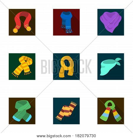 Beautiful woolen, silk-colored warm scarves of shawls. scarves and shawles icon in set collection on flat style vector symbol stock web illustration.