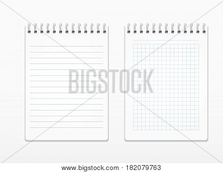 Realistic notepads with white sheets in line and in a square on a spiral. Notebook, notepad Isolated on white vector