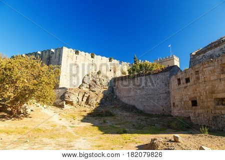Medieval Castle in Rhodes, Greece. It is one of the few examples of Gothic architecture in Greece.