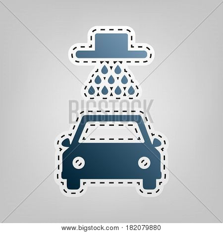 Car wash sign. Vector. Blue icon with outline for cutting out at gray background.