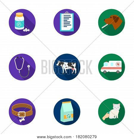 Vet clinic. Treatment of sick animals. Hospital for animals.Vet clinic icon in set collection on flat style vector symbol stock web illustration.