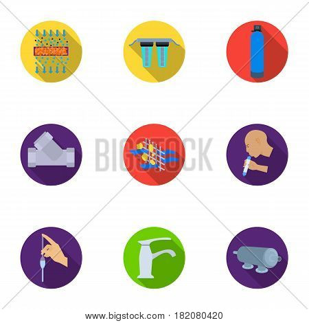 Set of icons on the theme of water. Water is the most important in the world. water filtration icon in set collection on flat style vector symbol stock web illustration.