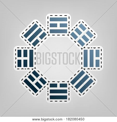 Bagua sign. Vector. Blue icon with outline for cutting out at gray background.