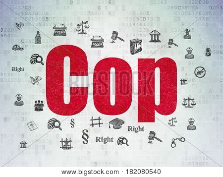 Law concept: Painted red text Cop on Digital Data Paper background with  Hand Drawn Law Icons