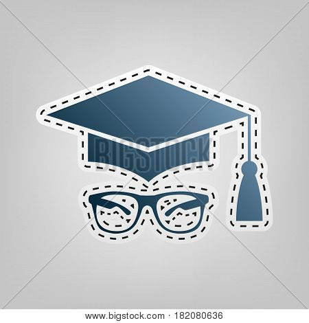 Mortar Board or Graduation Cap with glass. Vector. Blue icon with outline for cutting out at gray background.