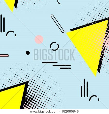 Memphis simple 80s pattern. Geometric hipster fashion style abstract art. 90s decoration with triangle and dots. bright summer texture. Ditsy trendy print on blue poster