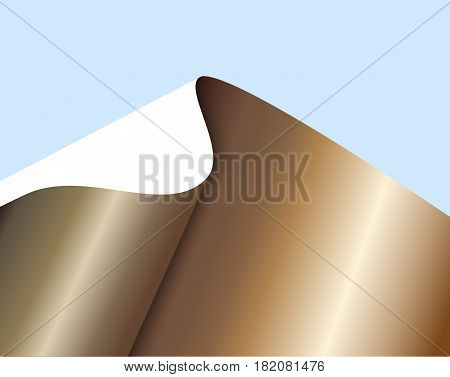 Sheet of bronze paper with a curl on blue background. Abstract vector illustration