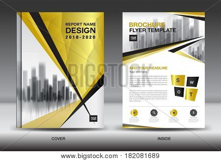 Business Brochure flyer templater Gold cover design annual report Book Magazine ads company Profile layout in A4 size poster catalog leaflet newsletter Advertisement presentation infographics polygon