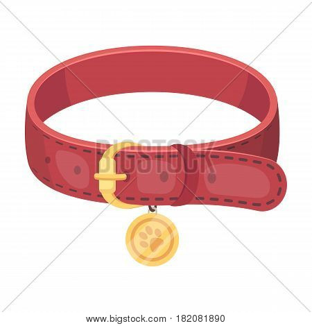 Collar with a medal for an animal.Pet shop single icon in cartoon style vector symbol stock illustration .