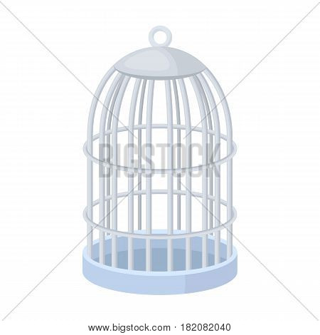Metal cage for birds.Pet shop single icon in cartoon style vector symbol stock illustration .