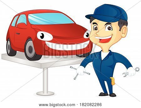 Mechanic Fixing Car And Holding Tools