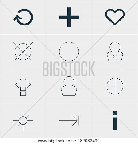 Vector Illustration Of 12 Member Icons. Editable Pack Of Cancel, Sunshine, Repeat And Other Elements.