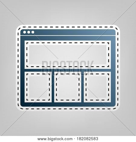 Web window sign. Vector. Blue icon with outline for cutting out at gray background.